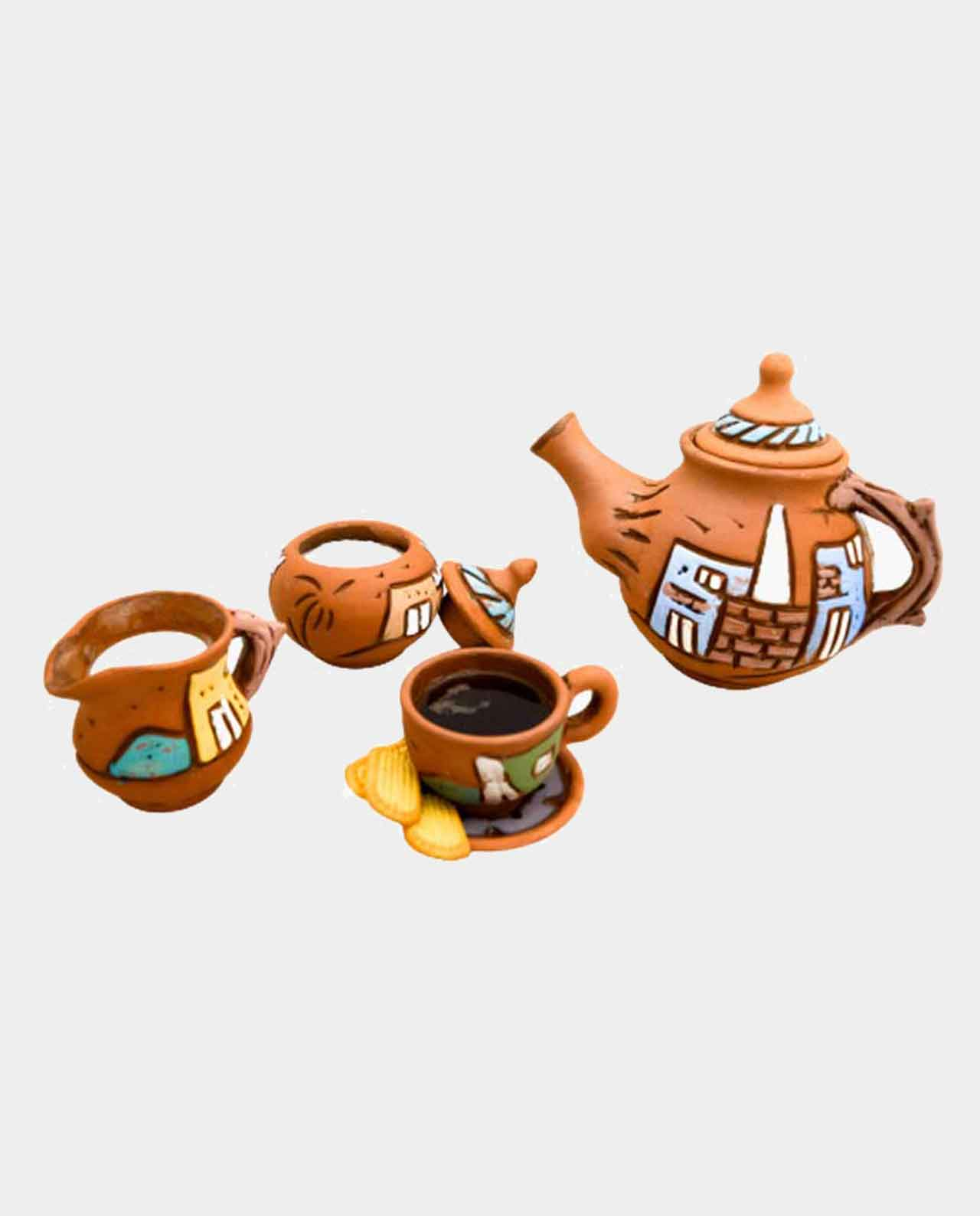 Natural healthy Tea Kettle with 6 cup tea with 6 dish with sugar bowl and Milk Jug handmade of 100% natural pottery